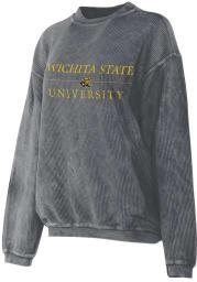 Wichita State Shockers Womens Charcoal Corded Crew Sweatshirt