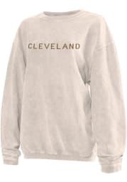 Cleveland Womens Natural Long Sleeve Corded Crew Sweatshirt