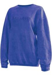 St Louis Womens Blue Long Sleeve Corded Crew Sweatshirt