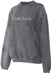 Chicago Womens Dark Charcoal Long Sleeve Corded Crew Sweatshirt