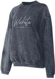 Wichita Womens Navy Script Long Sleeve Corded Crew Sweatshirt