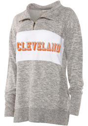 Cleveland Womens Grey Cozy Quarter Zip 1/4 Zip Pullover