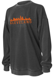 Cleveland Women's Charcoal Campus Over-sized Long Sleeve Crew