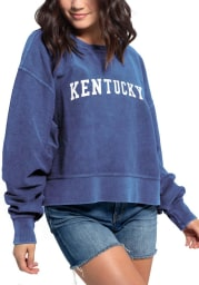 Kentucky Women's Royal Corded Boxy Pullover Long Sleeve Crew
