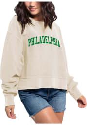Philadelphia Womens Oatmeal Cropped Boxy Crew Crew Sweatshirt