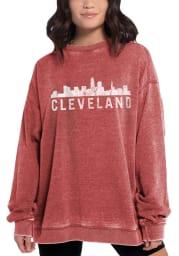 Cleveland Womens Red Campus Crew Crew Sweatshirt