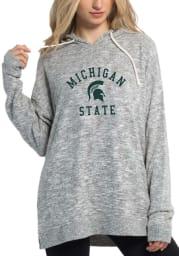 Michigan State Spartans Womens Grey Cozy Tunic Hooded Sweatshirt