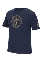 Adidas Philadelphia Union Navy Blue Sealed Brushed Short Sleeve T Shirt