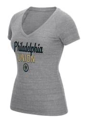 Adidas Philadelphia Union Womens Grey Script Scratch Outline V-Neck T-Shirt
