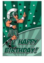 Michigan State Spartans Mascot Happy Birthday Card