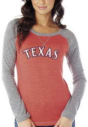 Texas Rangers Womens Red Official Jersey Long Sleeve Women's Crew