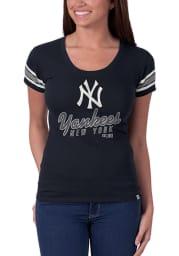47 New York Yankees Womens Navy Blue Off Campus Scoop Scoop T-Shirt