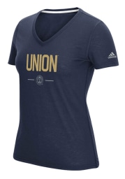 Adidas Philadelphia Union Womens Navy Blue Authentic Too T-Shirt
