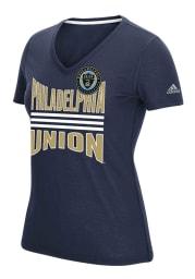 Adidas Philadelphia Union Womens Navy Blue Middle Stripes T-Shirt