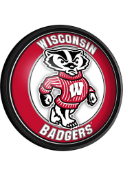 Wisconsin Badgers Mascot Round Slimline Lighted Sign