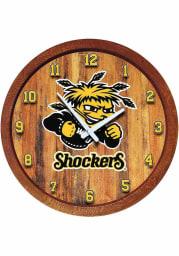 Wichita State Shockers Faux Barrel Top Wall Clock