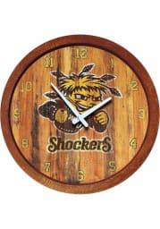 Wichita State Shockers Weathered Faux Barrel Top Wall Clock