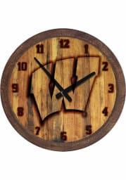 Wisconsin Badgers Branded Faux Barrel Top Wall Clock