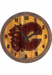 Calgary Flames Branded Faux Barrel Top Wall Clock