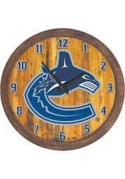 Vancouver Canucks Faux Barrel Top Wall Clock