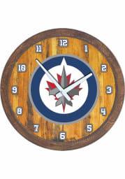 Winnipeg Jets Faux Barrel Top Wall Clock