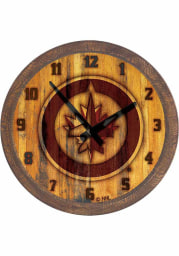 Winnipeg Jets Branded Faux Barrel Top Wall Clock