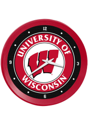 Wisconsin Badgers Ribbed Frame Wall Clock