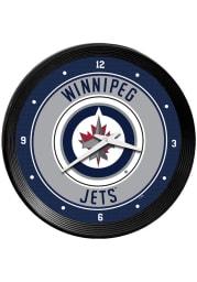 Winnipeg Jets Ribbed Frame Wall Clock