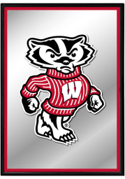 Wisconsin Badgers Mascot Framed Mirrored Wall Sign