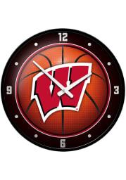 Wisconsin Badgers Basketball Modern Disc Wall Clock