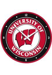 Wisconsin Badgers Logo Modern Disc Wall Clock