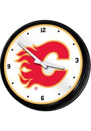 Calgary Flames Retro Lighted Wall Clock