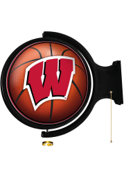 Wisconsin Badgers Basketball Round Rotating Lighted Sign