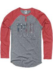 Americana Grey Flag USA Wordmark Raglan Sleeve T Shirt