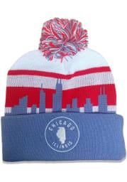 Chicago Light Blue Skyline Pom Mens Knit Hat