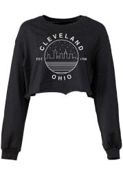 Cleveland Women's Black Starry Skyline Cropped Long Sleeve T Shirt