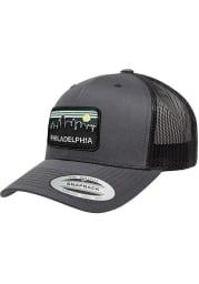 Philadelphia Retro Skyline Elevated Trucker Adjustable Hat - Charcoal