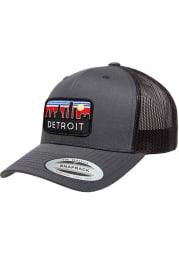 Detroit Retro Skyline Elevated Trucker Adjustable Hat - Charcoal