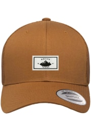 Dallas Ft Worth Woven Label Elevated Trucker Adjustable Hat - Brown