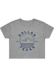 Dallas Women's Grey Starry Skyline Cropped Short Sleeve T Shirt