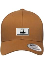 Detroit Woven Label Elevated Trucker Adjustable Hat - Brown