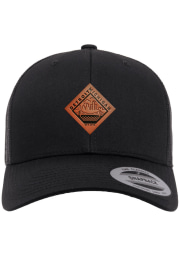 Detroit Faux Leather Patch Elevated Trucker Adjustable Hat - Black