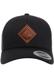 Kansas City Faux Leather Patch Elevated Trucker Adjustable Hat - Black