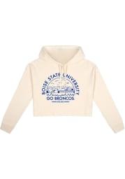 Boise State Broncos Womens White Fleece Cropped Hooded Sweatshirt