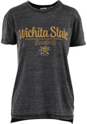 Wichita State Shockers Womens Black Cherie Vintage Boyfriend Crew Neck Short Sleeve T-Shirt