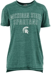 Michigan State Spartans Womens Green Vintage Short Sleeve T-Shirt