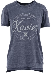 Xavier Musketeers Womens Navy Blue Ella Seal Short Sleeve T-Shirt