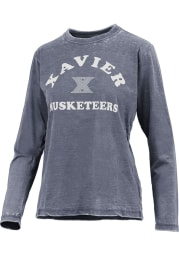 Xavier Musketeers Womens Navy Blue Vintage Burnout LS Tee