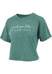 Michigan State Spartans Womens Green Vintage Crop Short Sleeve T-Shirt