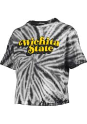 Wichita State Shockers Womens Black Tie Dye Campus Crop Short Sleeve T-Shirt